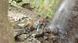 Bottom of the 150 foot tall plunge waterfall during dry season